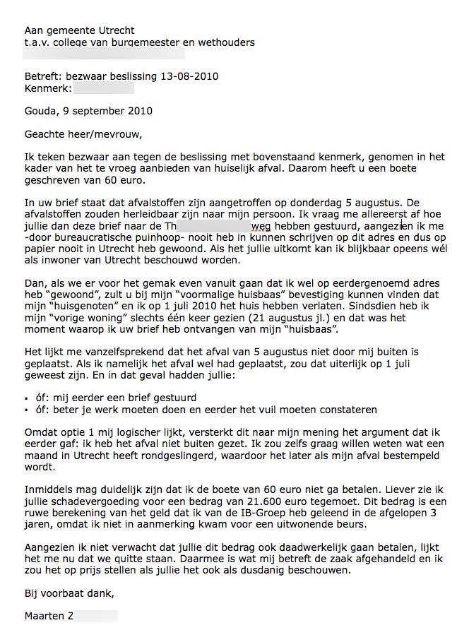 Format Klachtenbrief   More information